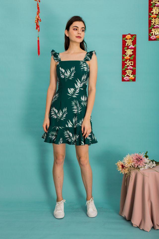 Zaira Tropical Ruffles Dress in Green (XL)