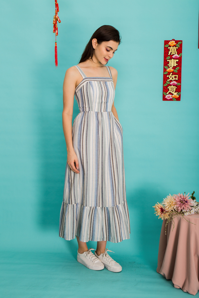 Charlize Pinstripe Maxi Dress in Blue