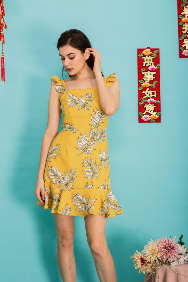 Zaira Tropical Ruffles Dress in Yellow