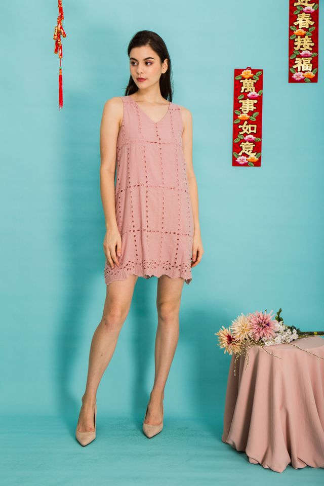 Jayde Eyelet Trapeze Dress in Pink