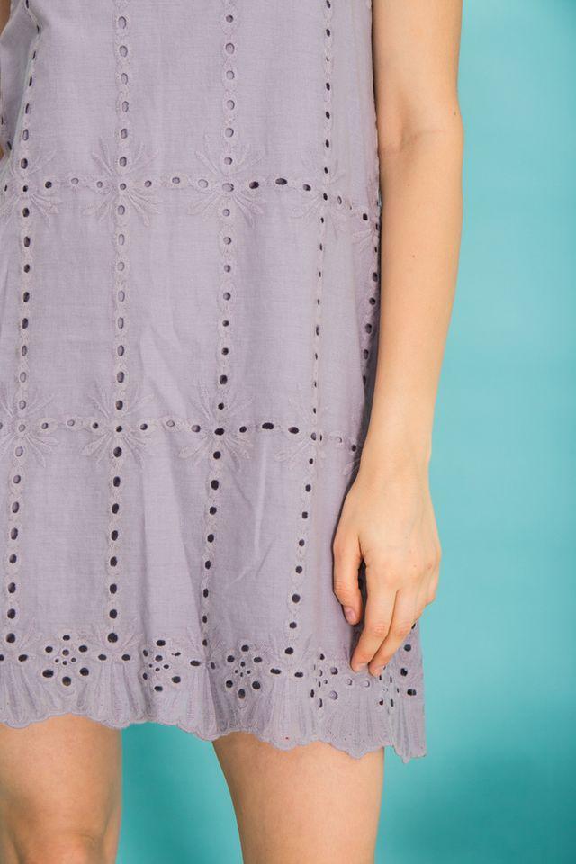 Jayde Eyelet Trapeze Dress in Grey