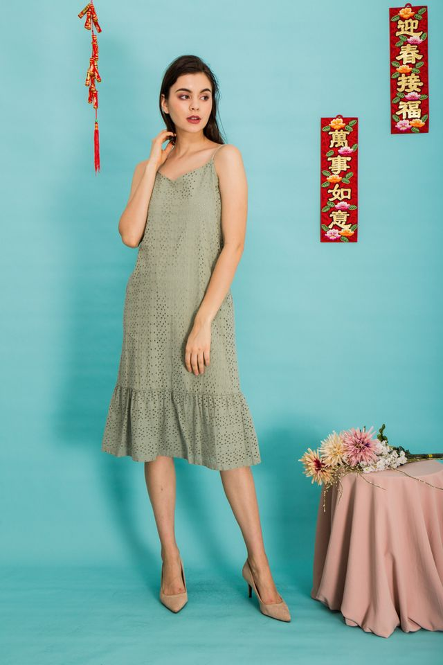 Vienna Eyelet Dropwaist Midi Dress in Green