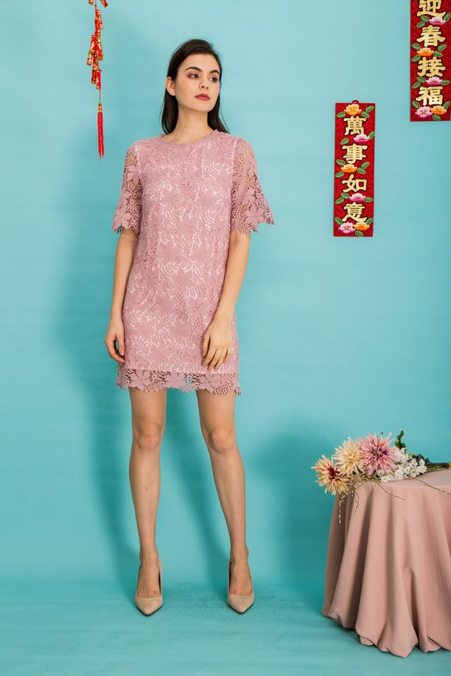 Mabel Floral Crochet Shift Dress in Pink
