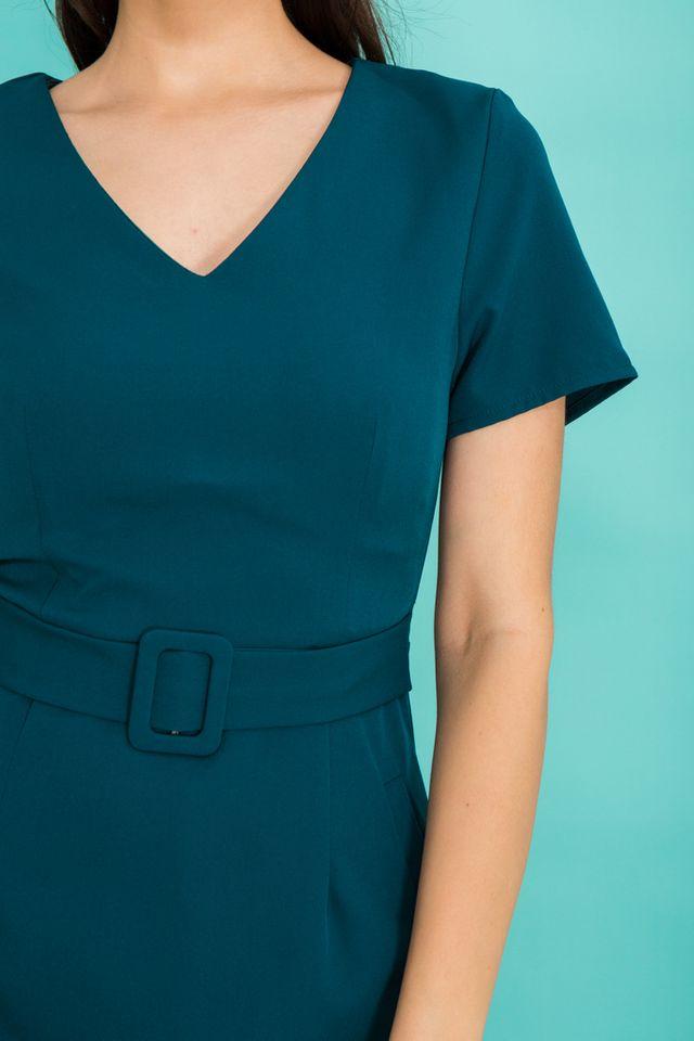 Francine Belted Dress in Teal Blue