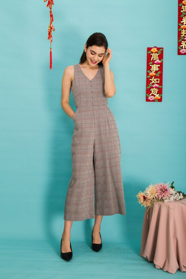 Zaya Plaid Button Jumpsuit in Grey