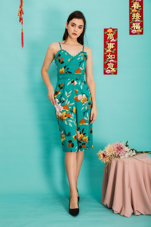 Jalen Lace Floral Jumpsuit in Bright Jade