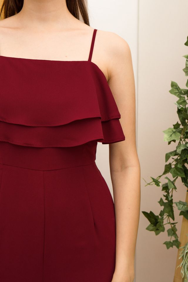 Jaylene Layered Ruffles Jumpsuit in Maroon (XL)