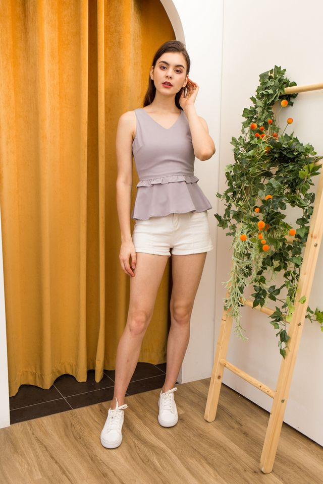 Maura Ruffles Babydoll Top in Grey