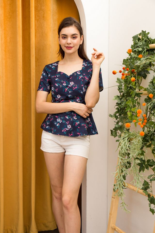 Clorinda Floral Babydoll Top in Navy