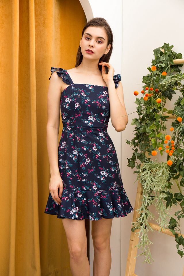 Rayla Floral Ruffles Dress in Navy
