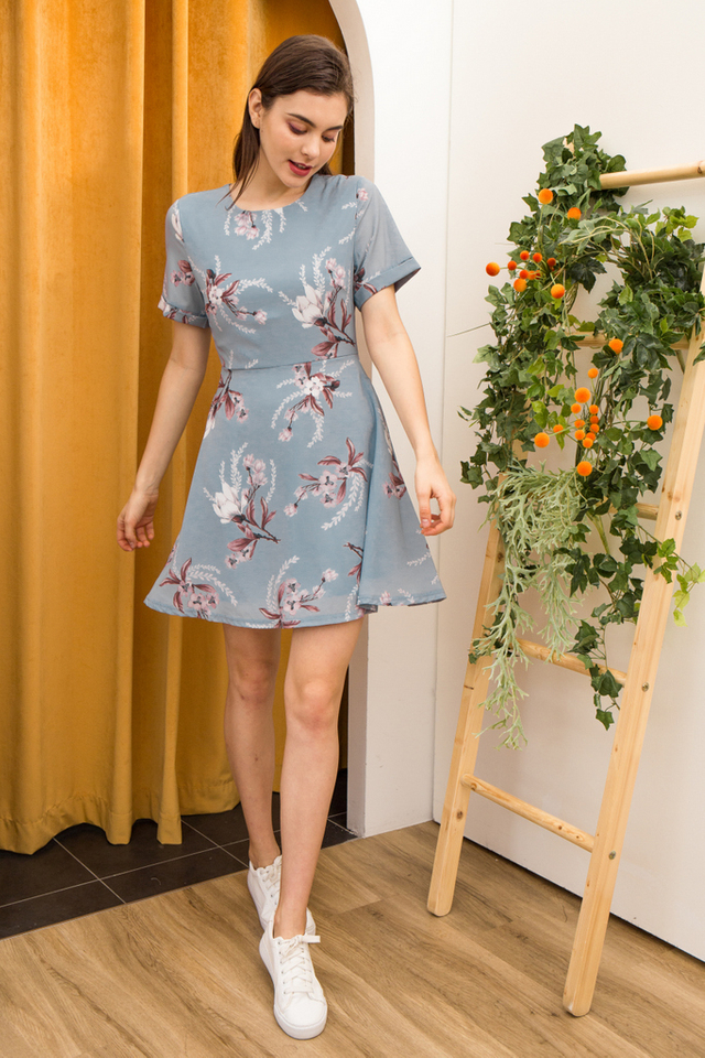 Lucinda Floral Skater Dress in Light Blue