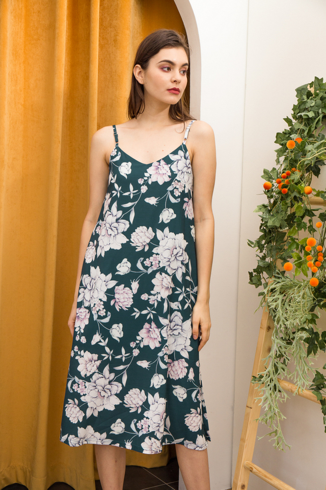 Arista Floral Slip Dress in Teal (XS)
