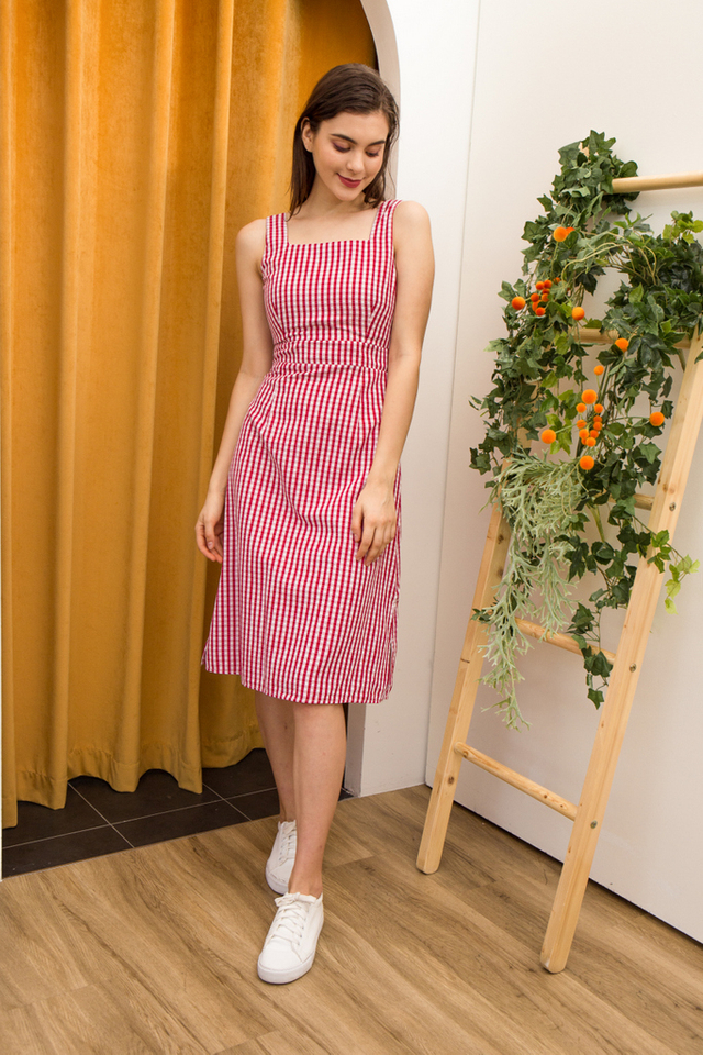 Diane Gingham Pinafore Dress in Red
