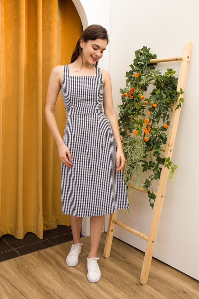 Diane Gingham Pinafore Dress in Black