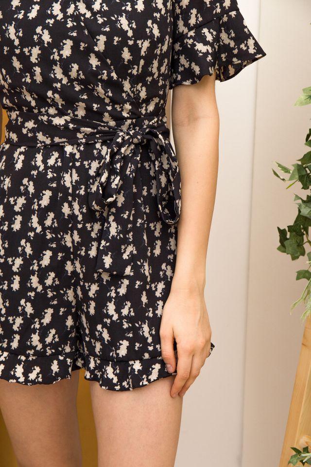 Dione Floral Ruffles Romper in Black