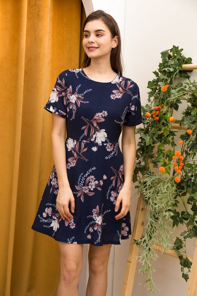 Lucinda Floral Skater Dress in Navy