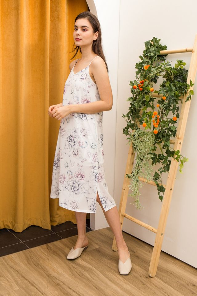 Arista Floral Slip Dress in White