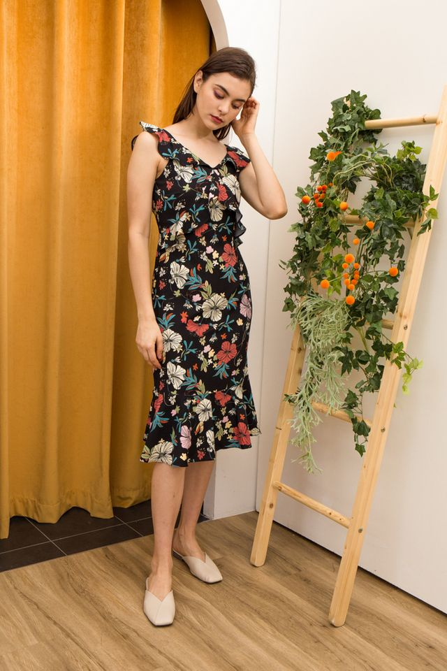 Yasmeen Floral Midi Dress in Black