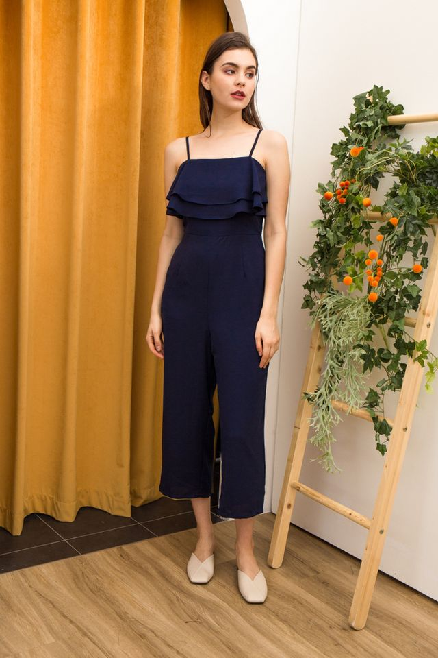 Jaylene Layered Ruffles Jumpsuit in Navy