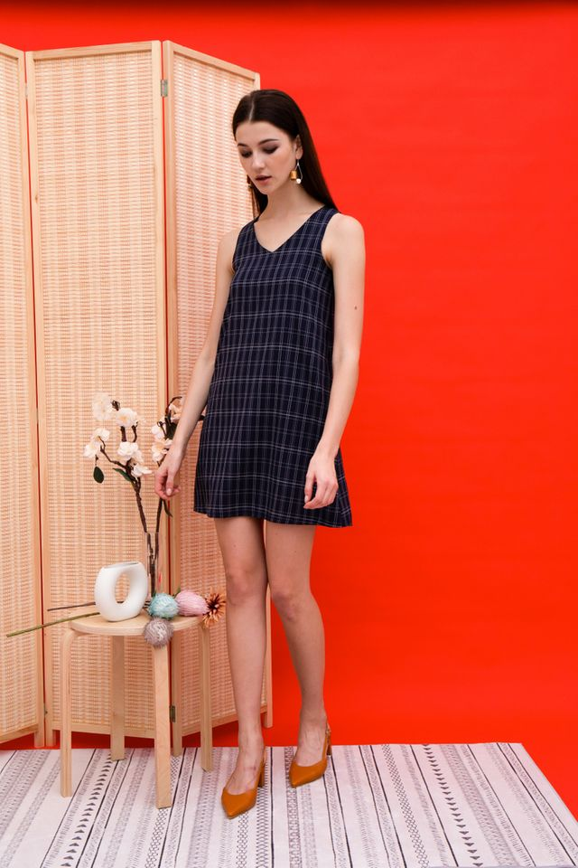 Dayaa Checkered Trapeze Dress in Navy