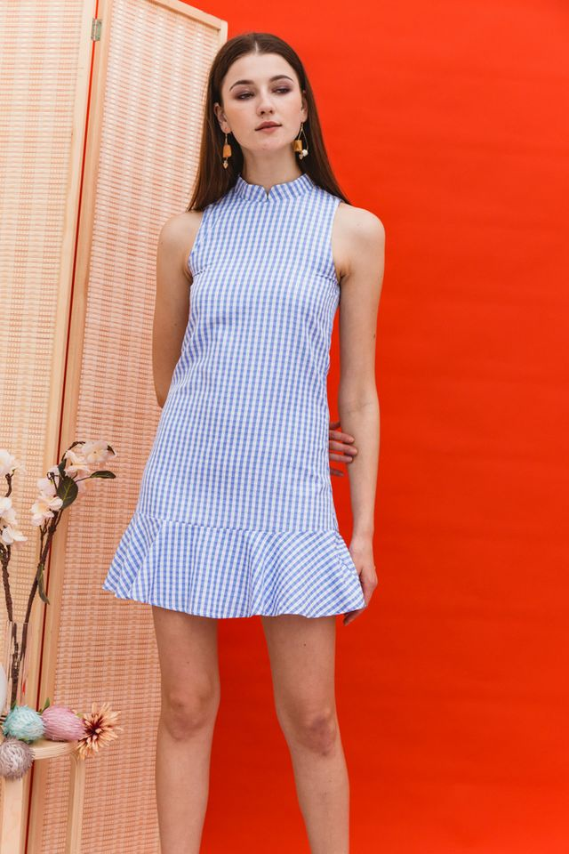 Adema Gingham Cheongsam Dress in Blue
