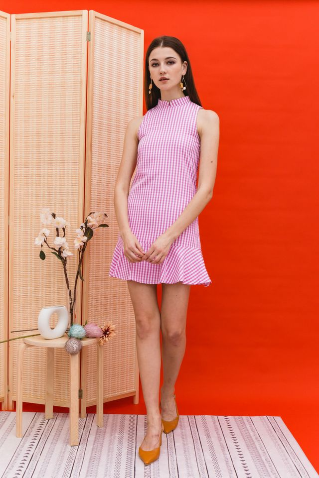 Adema Gingham Cheongsam Dress in Pink
