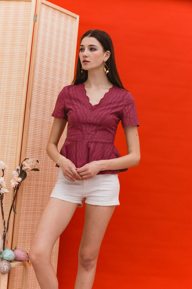 Benecia Eyelet Peplum Top in Dark Rouge (XS)