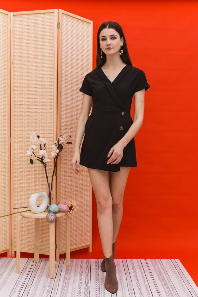 Eudora Folded Overlay Romper in Black