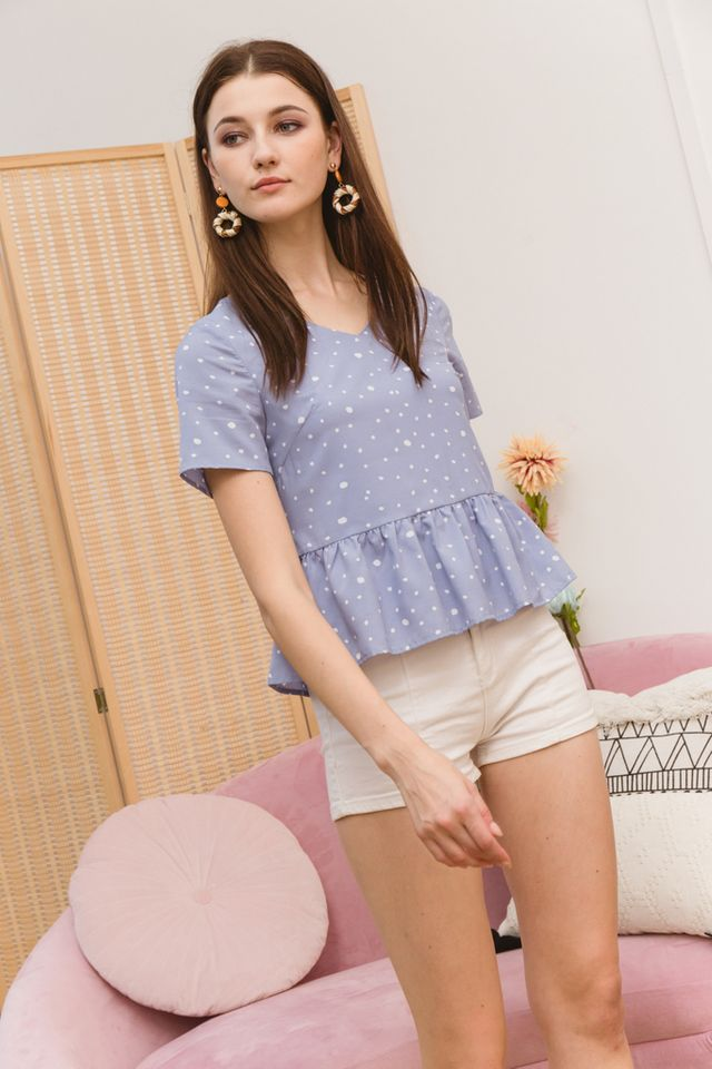Alcie Dotted Babydoll Top in Blue (XS)