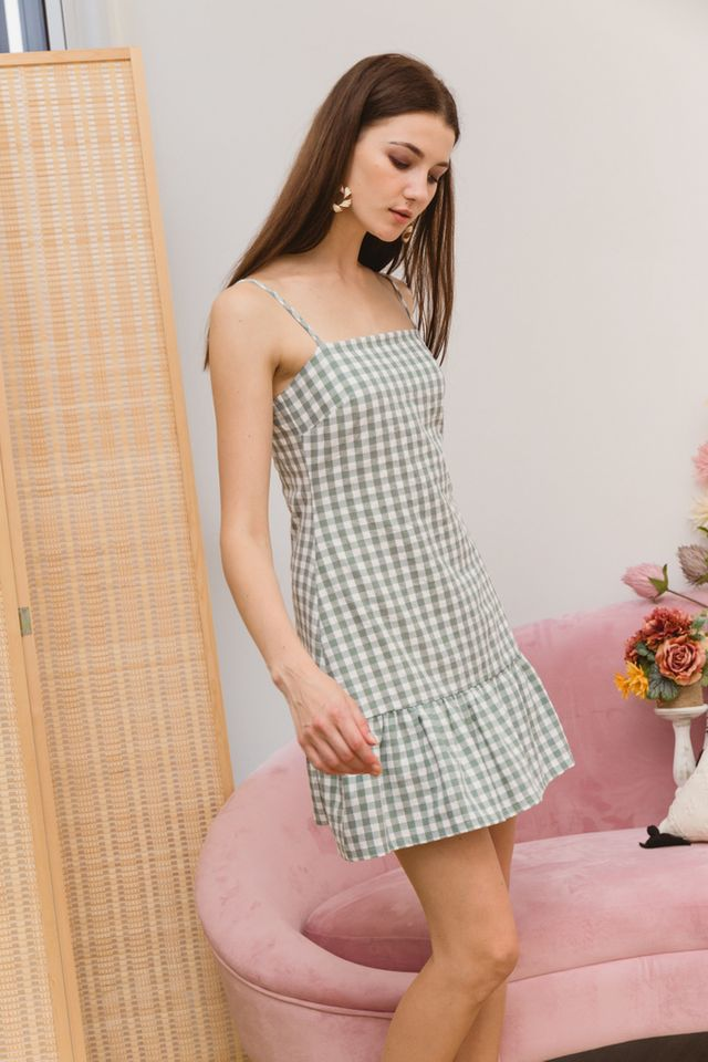Maryann Gingham Ruffles Dress in Green