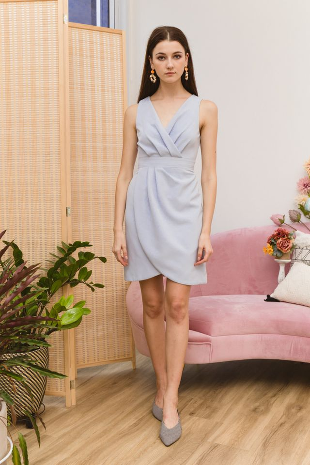 Alanis Petal Hem Midi Dress in Sky Blue