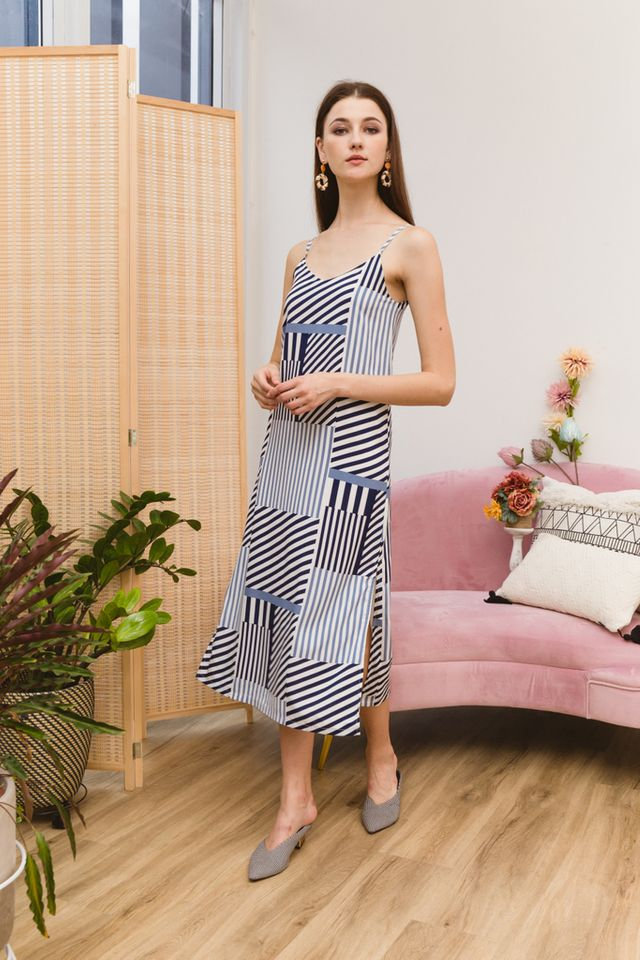 Siena Striped Maxi Dress in Blue (XS)