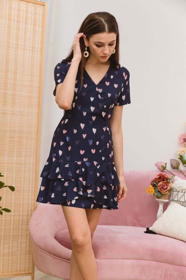 Emmeline Sweetheart Ruffles Dress in Navy