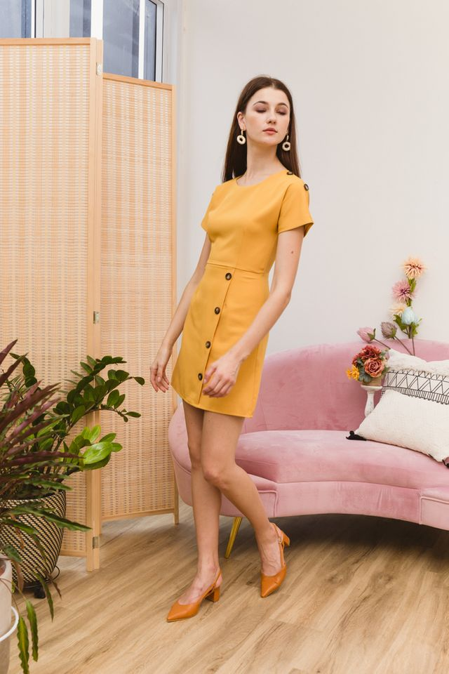 Pavana Buttoned Sleeve Dress in Mustard