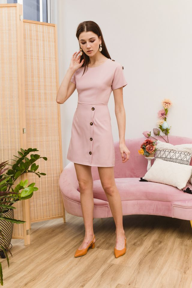 Pavana Buttoned Sleeve Dress in Dusty Pink (XS)