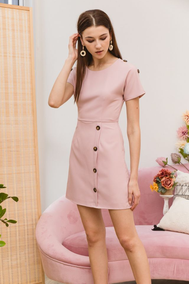 Pavana Buttoned Sleeve Dress in Dusty Pink