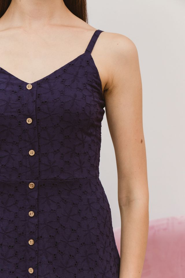 Gwenore Floral Eyelet Dress in Navy (L)