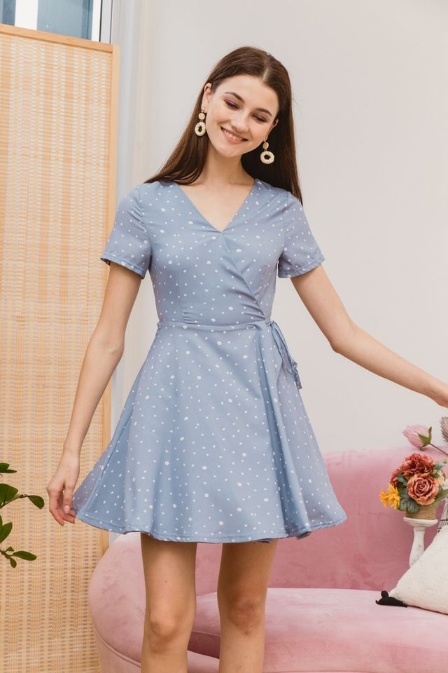 Kinsey Dotted Skater Dress in Blue (XS)