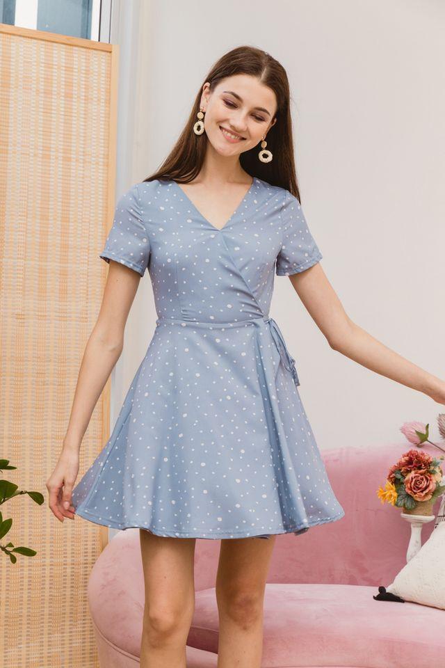 Kinsey Dotted Skater Dress in Blue