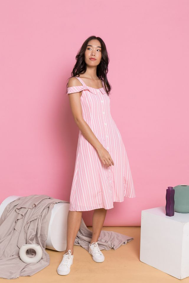 Beatrix Pinstripe Cold Shoulder Dress in Bright Pink