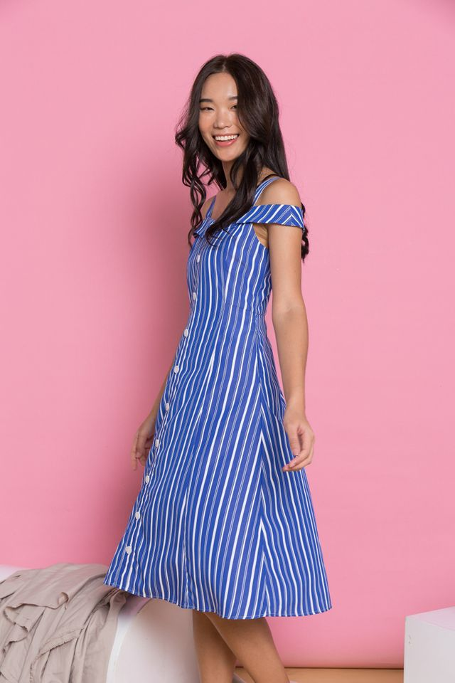 Beatrix Pinstripe Cold Shoulder Dress in Blue