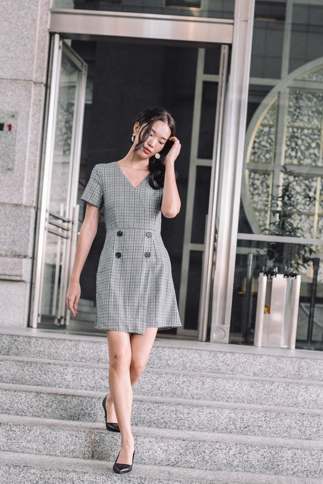 Siria Overlay Plaid Dress in Grey
