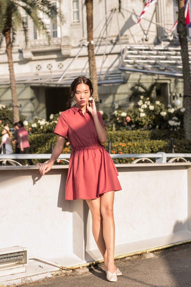 Mireille Ruffles Shirt Dress in Rouge