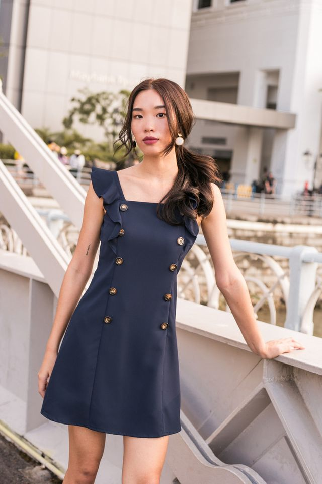 Taris Button Shift Dress in Navy
