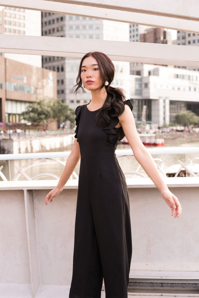 Euphemia Ruffles Sleeve Jumpsuit in Black