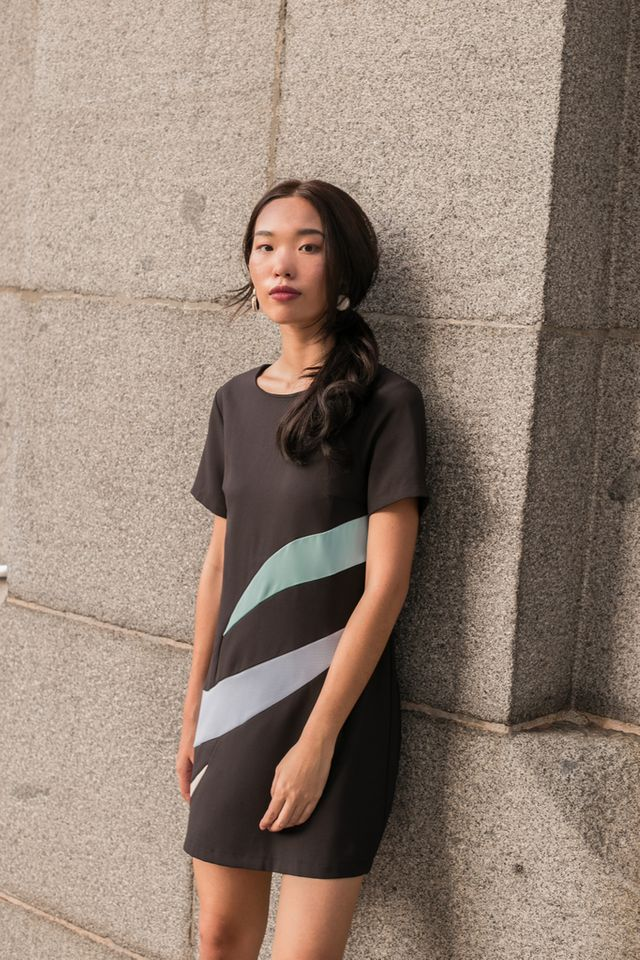 Aphra Abstract Shift Dress in Black