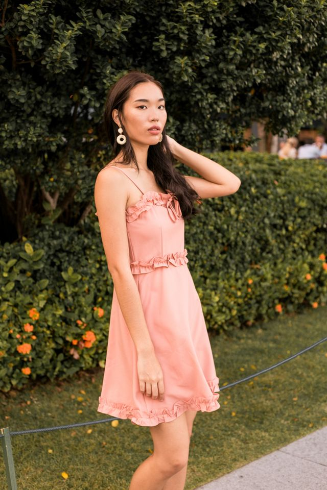 Briallen Ruffles Trapeze Dress in Peach Pink