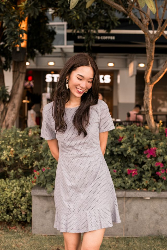 Priela Eyelet Ruffles Dress in Grey
