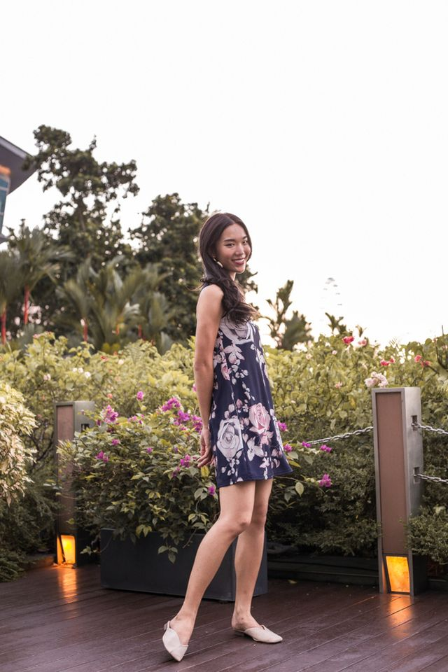 Eldora Floral Trapeze Dress in Navy