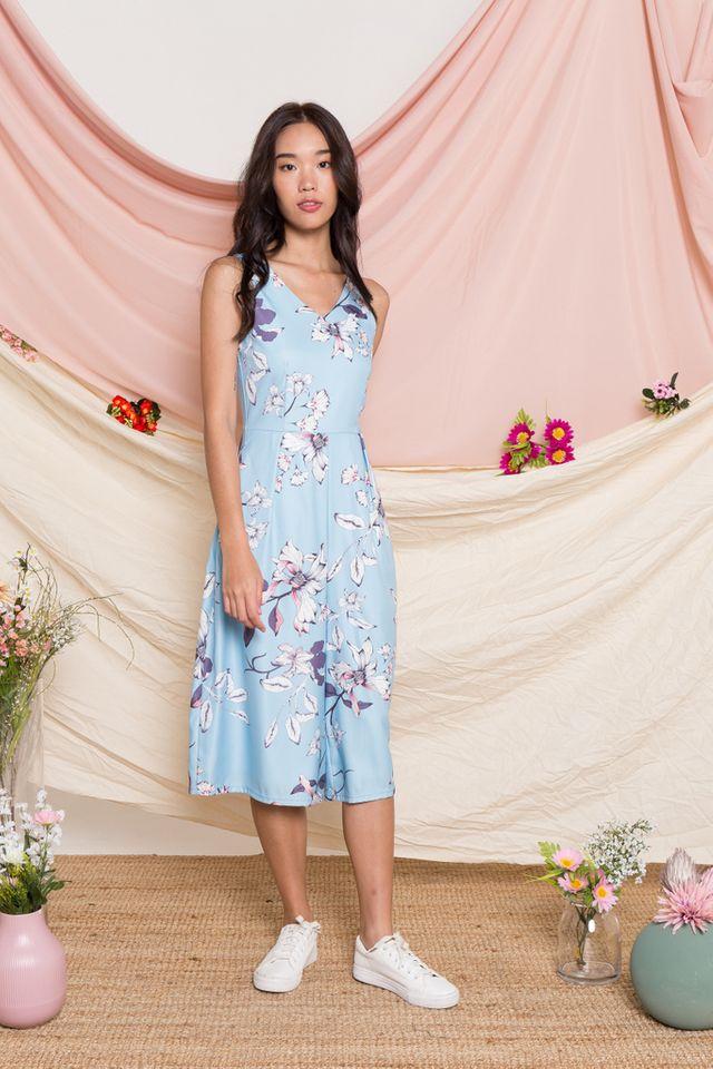Parthenia Floral Wide Leg Jumpsuit in Light Blue
